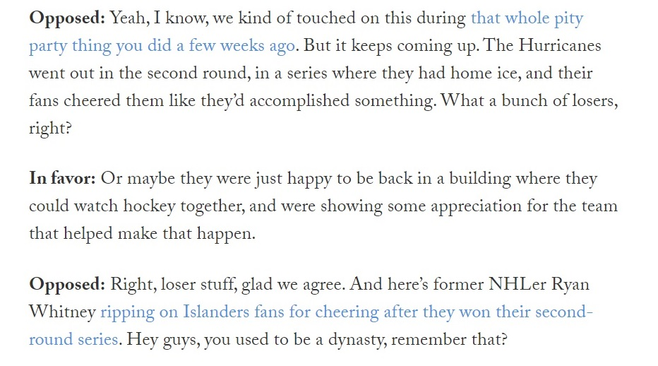 Friday Grab Bag: Are fans allowed to be happy even if their team doesn't win the Cup? Plus Conan O'Brien vs. the Maple Leafs and lots more.  https://t.co/oPdvxSIxd4 https://t.co/Ve4GxR7E5V
