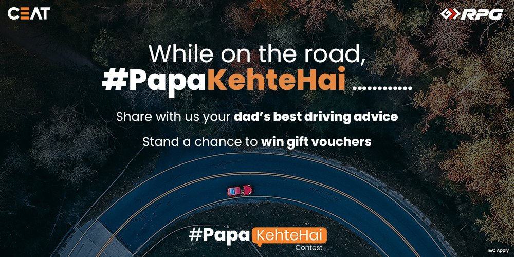 #Contest #ContestPost 3 Lucky Winners to Win Gift Vouchers worth Rs.2000/- each. RULES: 1. Comment your Dad's Best Driving Advice. Tag @CEATtyres & use #PapaKehteHai 2. Follow @CEATtyres Contest ends - 20 June, 2021 at 11:59 p.m. *TnC: https://t.co/X6ebJJryo8 #HappyFathersDay2021 https://t.co/vygwMxFJX4
