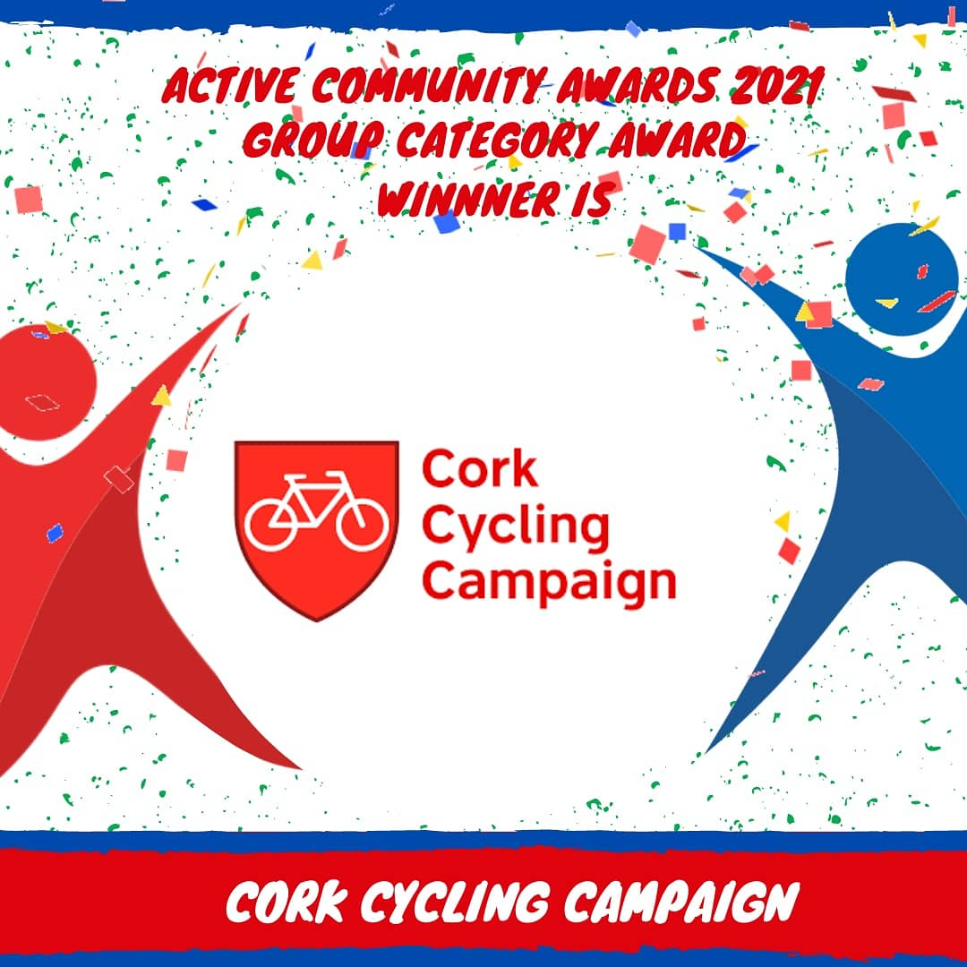 Cork Sports Partnership is proud to announce the Winner of the Inaugural Active Community Group Award is Cork Cycling Campaign 🥳💥🥳  Huge Congratulations to @CorkCyclingCrew! 🏆  #ActiveAwards21 #KeepCorkActive #KeepWell https://t.co/MglTtREKWz