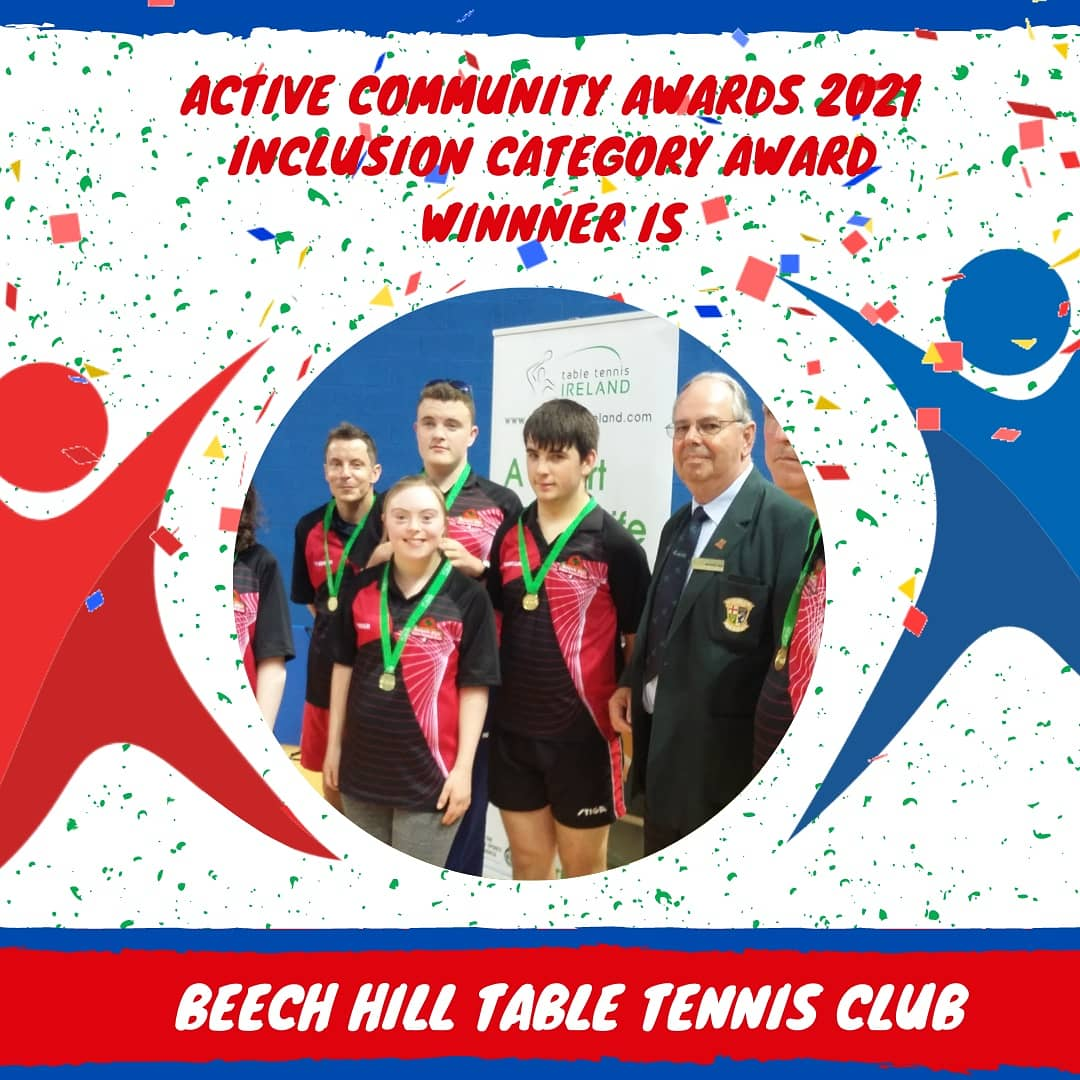 Cork Sports Partnership is proud to announce the Winner of the Inaugural Active Community Inclusion Award is Beech Hill Table Tennis Club 🥳💥🥳  Huge Congratulations to Beech Hill Table Tennis Club and all your members 🏆  #ActiveCorkAwards21 #KeepCorkActive #KeepWell https://t.co/CDgeCDqXoU