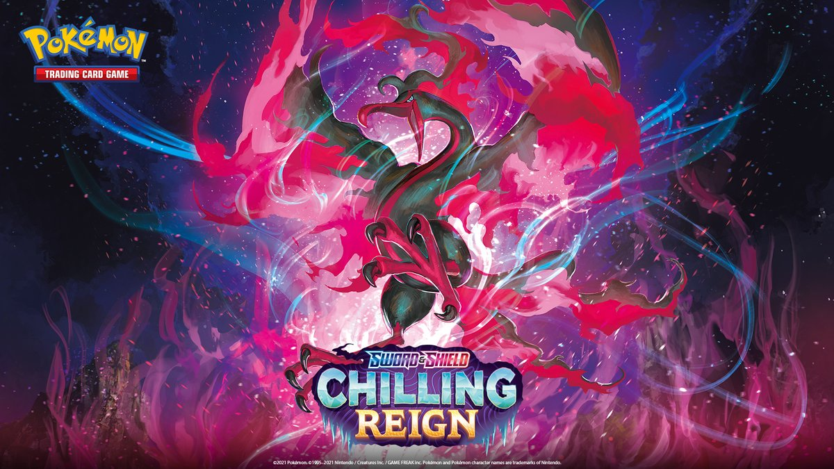 tweet-Chilling Reign officially releases today!You can find the best prices on cards from TCGplayer: https://t.co/7aDwip6Y6UThe set list is here: https://t.co/3mPZptiS5T#PokemonTCG #ChillingReign https://t.co/EO49AAwvG5