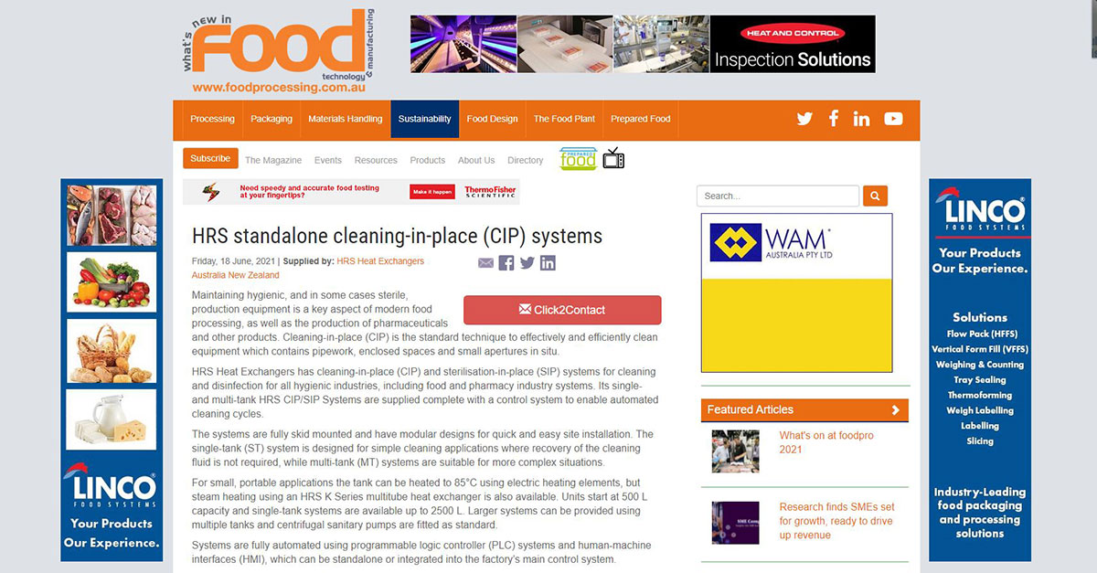 """test Twitter Media - HRS is featured in What's New in Food @FoodProcessAU: """"HRS Standalone Cleaning-in-Place (CIP) systems"""". HRS has CIP/SIP Systems for cleaning & disinfection for all #hygienic industries, incl. food & #pharmacyindustry system. Read more: https://t.co/XXfsWLqrP0 #CIPSystem https://t.co/laWnGAqfMI"""