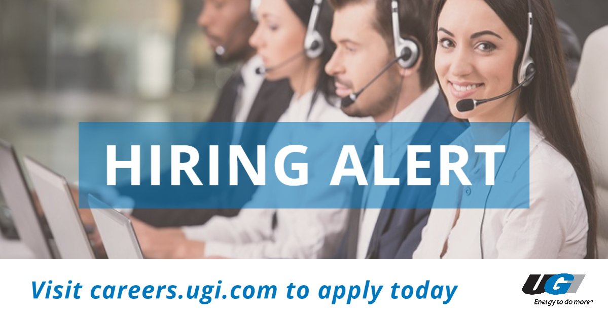 test Twitter Media - Looking for a new career? UGI is hiring Customer Care Representatives! If you're proactive, solution-oriented who can work independently, register to attend one of our Job Fair sessions on June 23 and 24. https://t.co/vxEL2wlk1j #getintoenergy https://t.co/wmaDpEdnqd