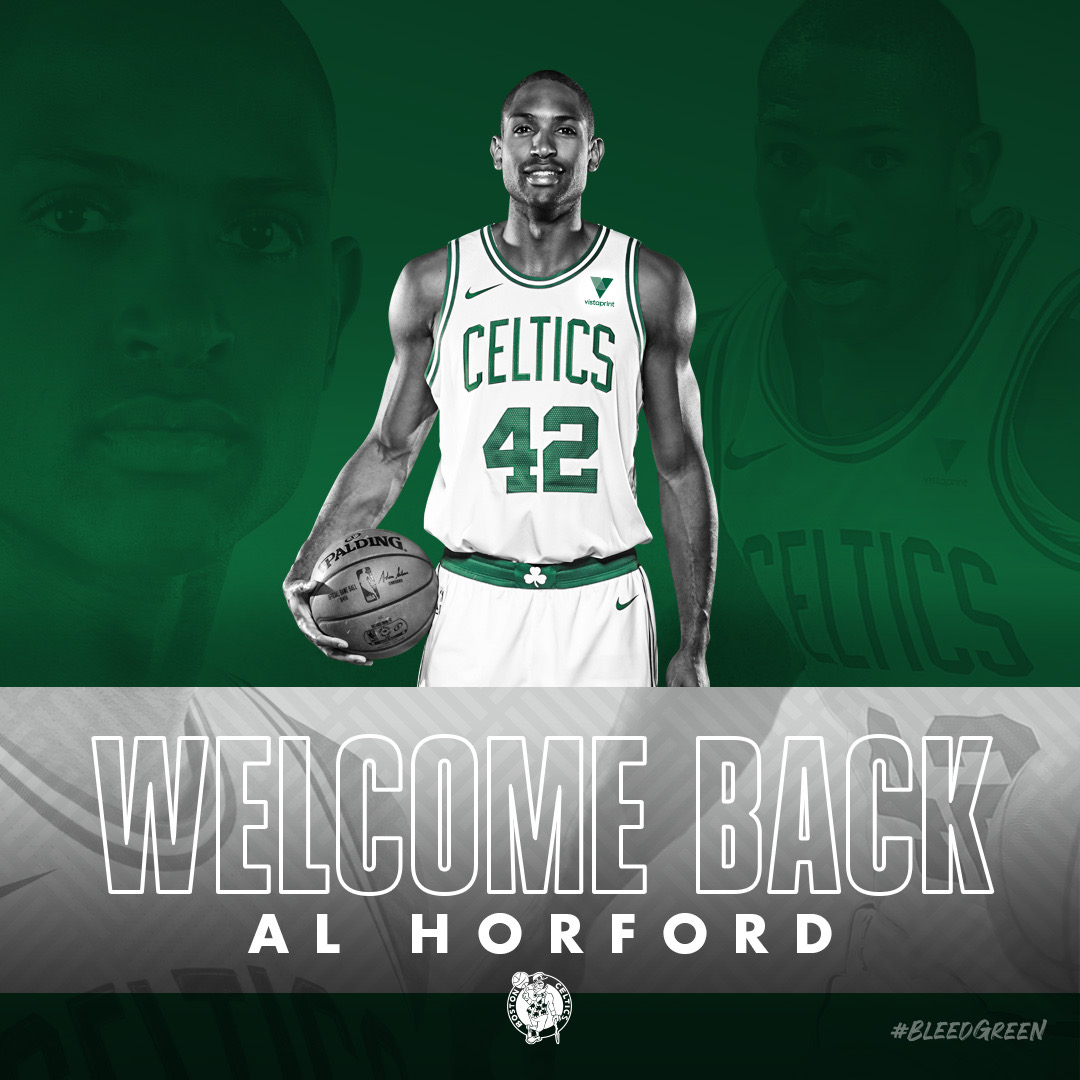 𝐈𝐓'𝐒 𝐎𝐅𝐅𝐈𝐂𝐈𝐀𝐋   Welcome home, @Al_Horford ☘️ https://t.co/2h9QaGT9Qw