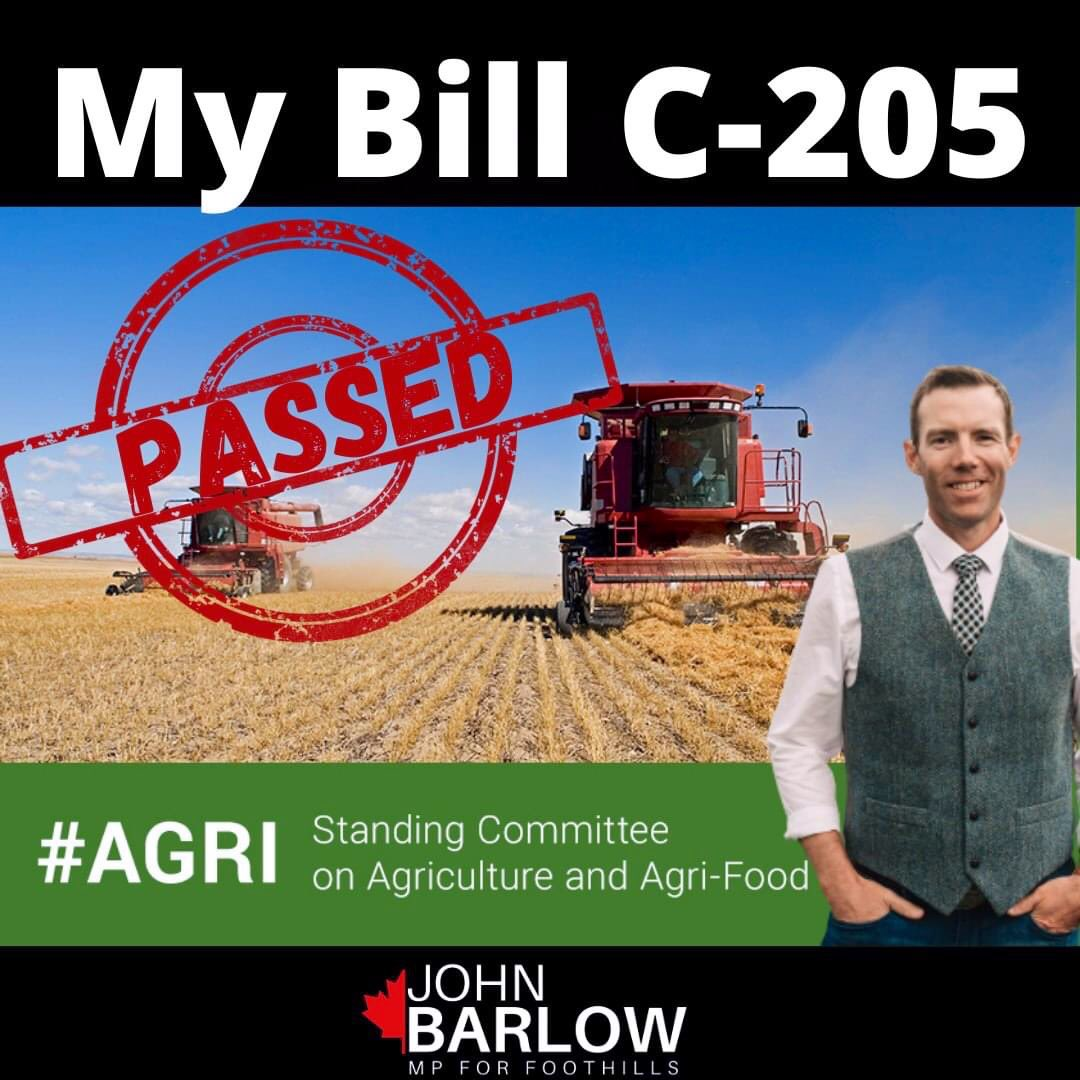Thanks @JohnBarlowMP for putting forward this common-sense piece of legislation!   Biosecurity is critical in agriculture which is why we also strengthened laws in Alberta to protect producers and their livestock. #AbAg #ableg https://t.co/40rJOYQ7ew