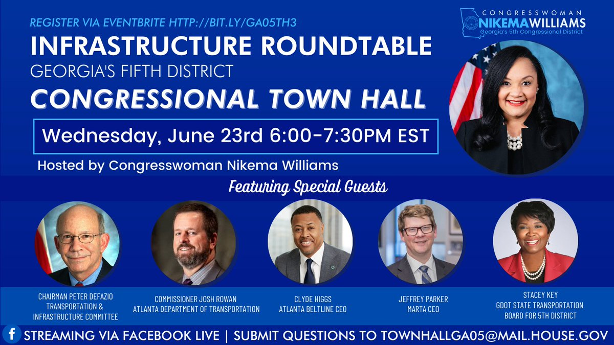 Better bridges. Safer roads. #InfrastructureIsCalling. DON'T MISS OUT on my Infrastructure Roundtable with @TransportDems Chairman @RepPeterDeFazio and special guests from #GA05 on what you need to know about the #AmericanJobsPlan and more! REGISTER at https://t.co/2j5jp9N8G3. https://t.co/ih2abueL6F