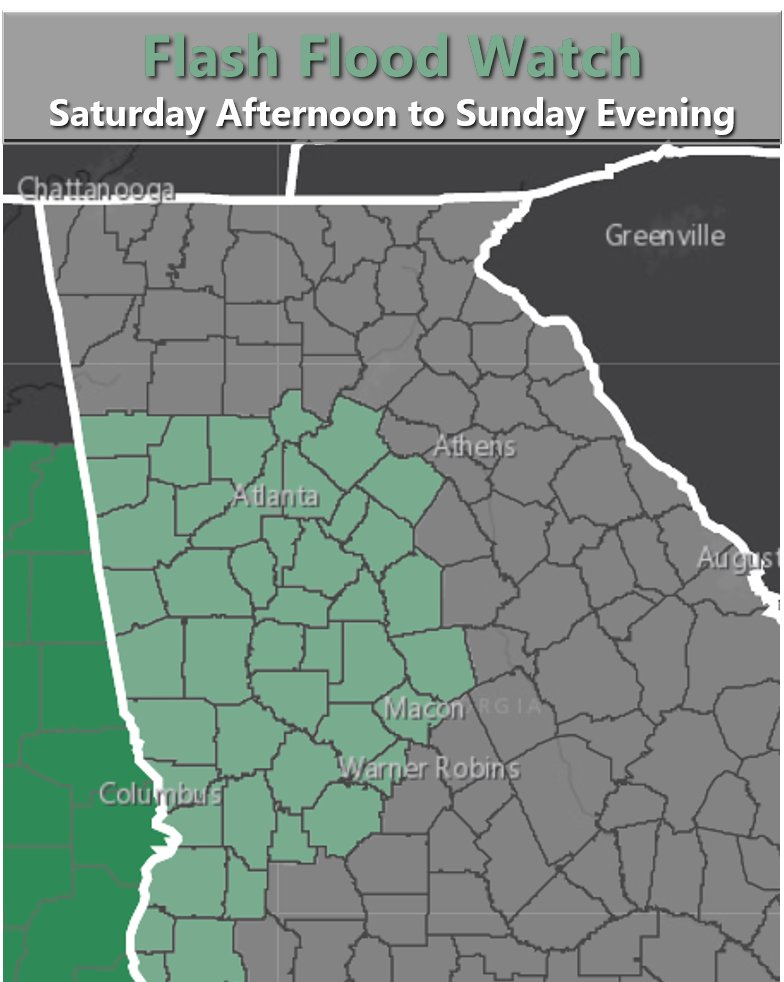 Check out @NWSAtlanta weekend forecast for Georgia.  Tropical Storm Claudette expected to bring heavy rain and a Flash Flood Watch beginning Sat afternoon.  Please stay safe and remember to #DriveAlertArriveAlive