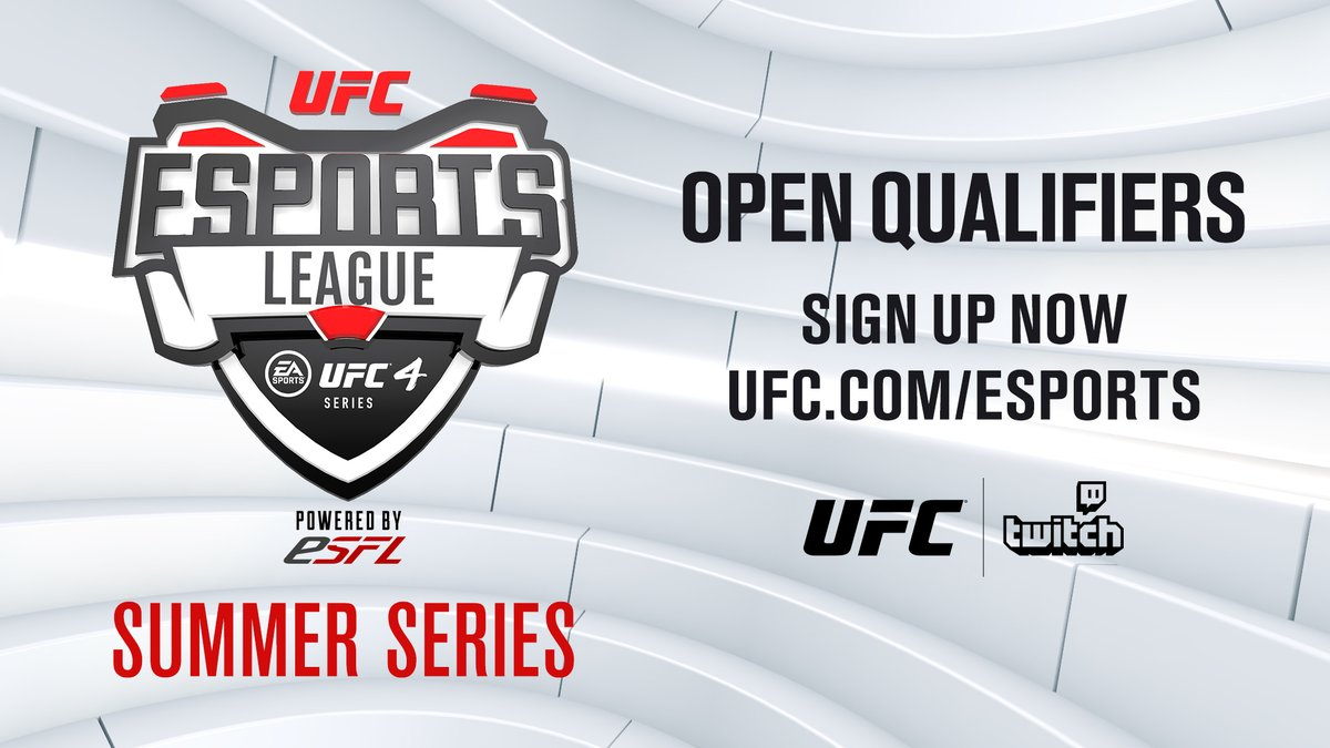 Compete with the elite 🎮 Sign up now to stake your claim in the #UFCeSportsLeague Summer Series!   💢 Sign ups open through June 20th 🔗 https://t.co/QN9i4FcZA1  [ @ESFLGaming | @EASportsUFC | https://t.co/4aEPQ4f5kV ] https://t.co/IqFllQEv8d