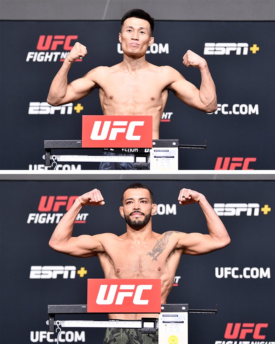 The Korean Zombie and Dan Ige both weighed in at 146 pounds for Saturday's featherweight main event ⚖️ #UFCVegas29 https://t.co/UkKOR4tXhP