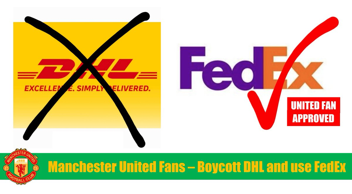 @FedEx Manchester United fans are fed up with sponsors like @DHLUS funding the Glazers' toxic ownership of our club. So we're boycotting them and supporting you. Reds use #UnitedFanApproved FedEx. #GlazersOut #BoycottMUFCSponsors #NotAPennyMore https://t.co/MZ69MjatyP