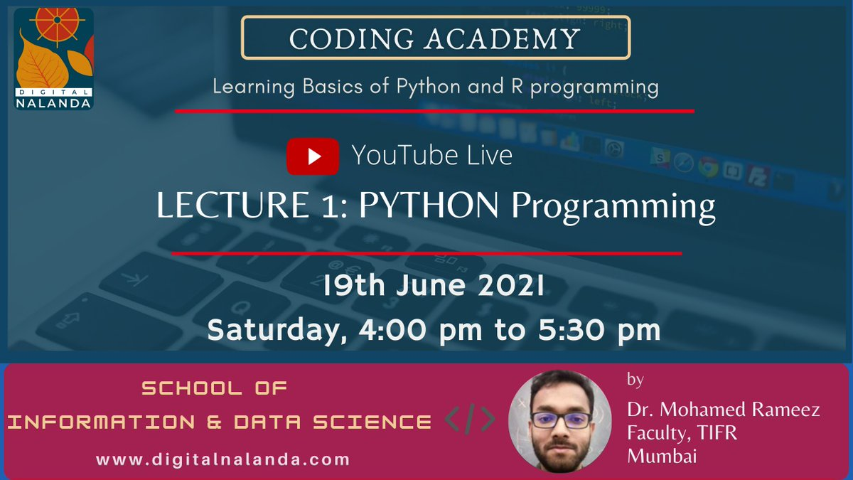 We are BACK!  🙂  Restarting our Digital Nalanda after a forced gap of 2 months due to the pandemic.   * Saturday, 19th June, 4 pm - First session of our Coding Academy  *Sunday, 20th June, 10 am -  Workshop on 'Critical Historical Review of Indian Nationhood' https://t.co/VJlNivCoOU