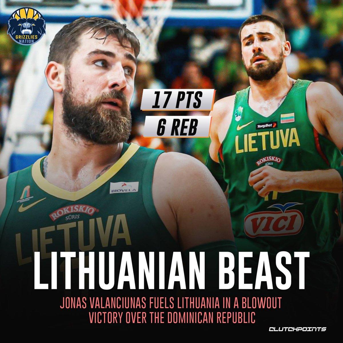 Jonas Valanciunas led all scorers as Lithuania cruised past the Dominican Republic. 💪 https://t.co/O5J9UiU7SO