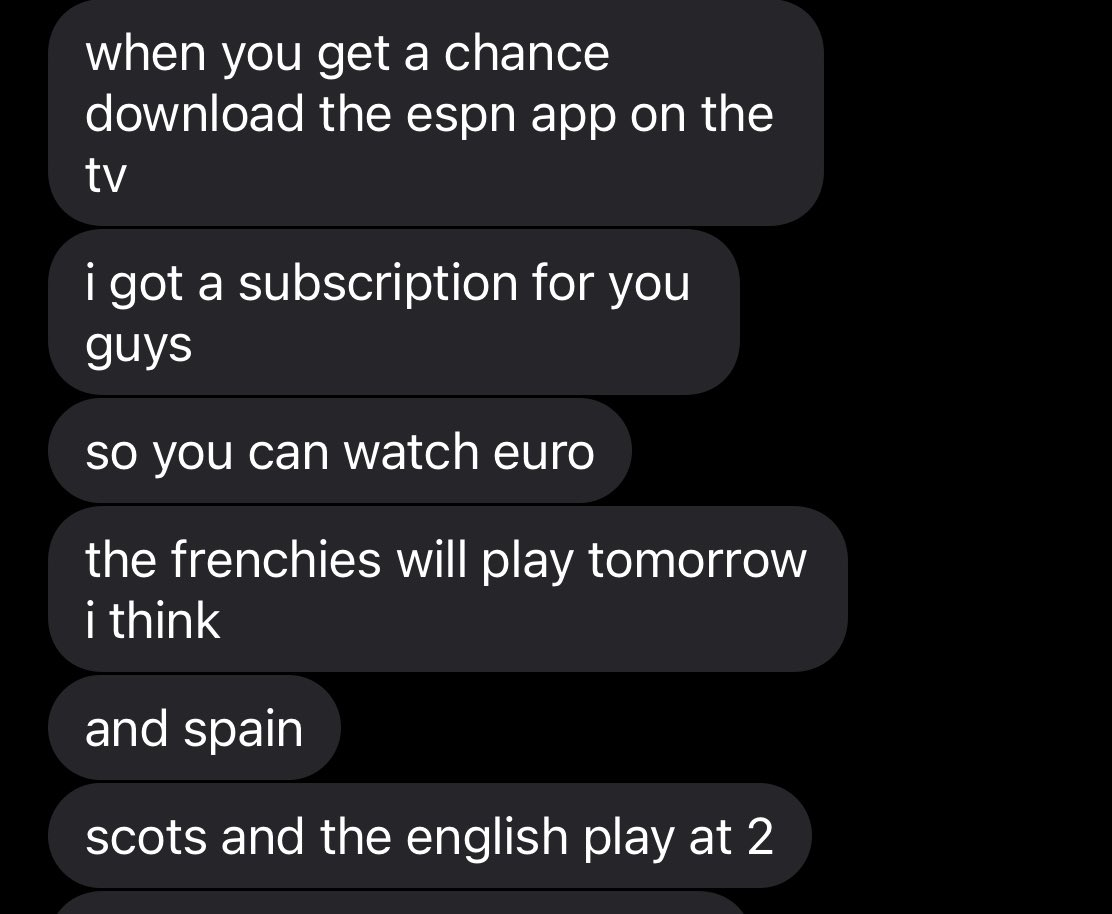 Starting the #weekend right with #EURO2020 A text from my brother…#ESPNPlus https://t.co/RFDPGpVFBp