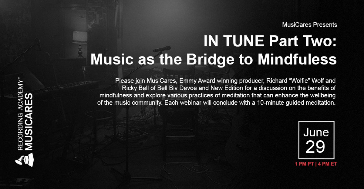 """IN TUNE Part Two: Music as the Bridge to Mindfulness 🎵  Join Richard """"Wolfie"""" Wolf (@wolfintune) and Ricky Bell (@MrRickyBell) for a discussion on the benefits of mindfulness and explore various practices of meditation.  🗓: June 29th at 1pm PT 📲: https://t.co/hDjmNwfeWo https://t.co/tbPdQ3u6oH"""