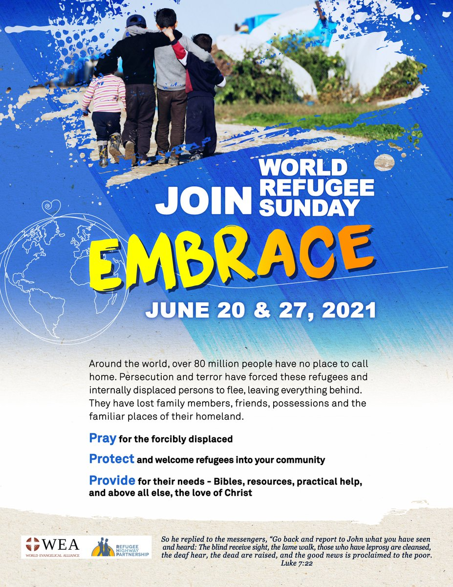 Since some estimates are that more than half of the 80+ million forcibly displaced peoples are fleeing persecution for their faith, we are urging the @RLPartnership family to participate & promote World Refugee Sunday. Resources at: https://t.co/ZUQ2PPOixu #WRS2021 @WEAnews