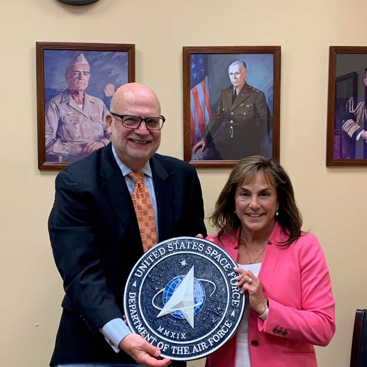 Thank you to @usairforce Acting Secretary John Roth for presenting me with one of the newly minted seals of the United States Space Force.  I'm proud to display this in my office and support the newest branch of our military. https://t.co/trkTmoRXup