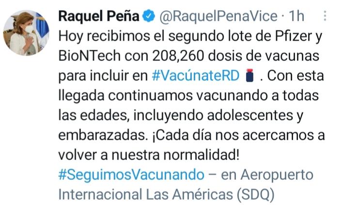 #Nacionales I  La Vicepresidenta de la República y Coordinadora del Gabinete Nacional de Salud, Raquel Peña, informó hoy que recibieron el segundo lote de 208,260 dosis de vacunas de Pfizer y BioNtech. #InformativosTA #NacionalesTA @teleantillascanal  #SaludTA https://t.co/3baYOZpfvj