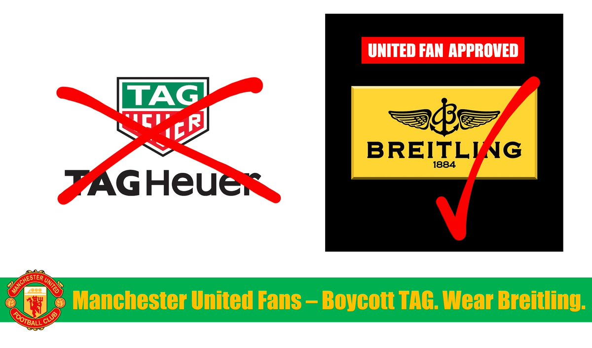 @Breitling Manchester United fans are fed up with sponsors like @TAGHeuer funding the Glazers' toxic ownership of our club. So fans will boycott TAG and support you. Breitling is #UnitedFanApproved #GlazersOut #BoycottMUFCSponsors #NotAPennyMore https://t.co/8H9xSbevAE
