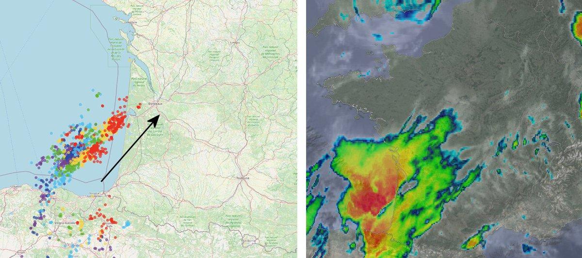 Un système orageux virulent associé à deux supercellules aborde l'#Aquitaine #Gironde. Les sommets nuageux sont très froids, loc.<-60°C (rouge sur l'image sat thermique). De forts #orages  très électriques sont imminents, avec risque de rafales, pluies intenses et grêle.