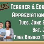 The Bowie Baysox in partnership with @ESFCU invite Educators & Teachers to Educator Appreciation Week at the Baysox!  Educators can get two free tickets to their choice of one Baysox game from Tues. June 22 through Sat. June 27. Come Have Fun!  Details: https://t.co/rU8gWZRHgF