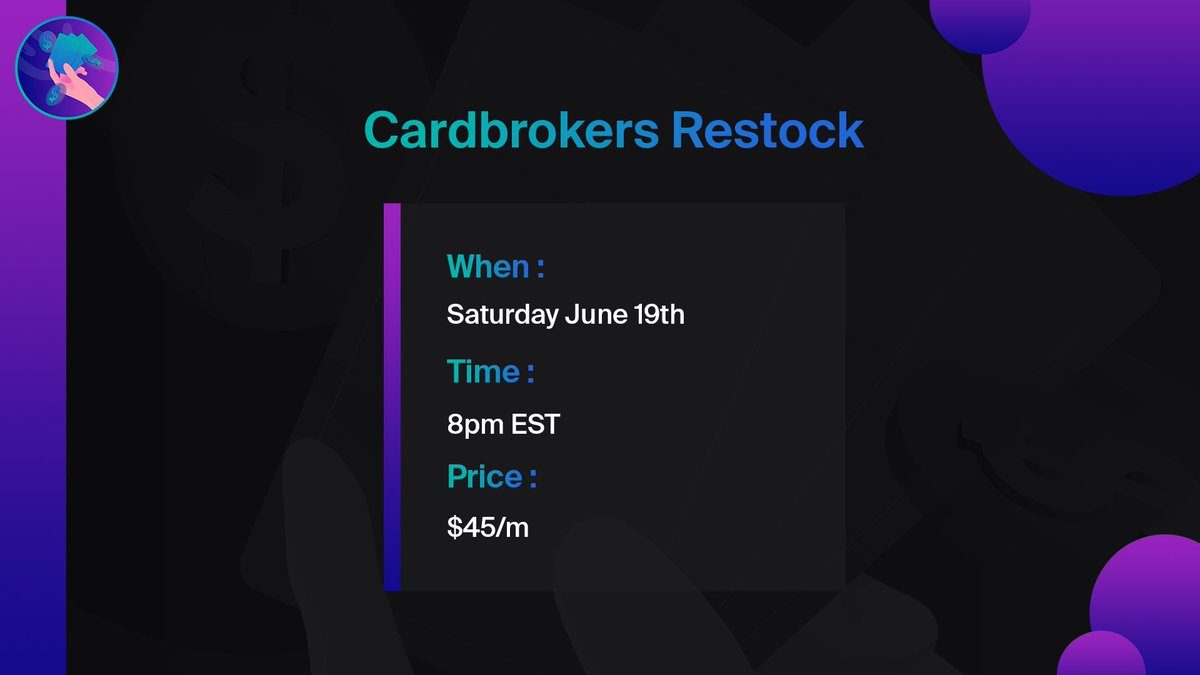 CARD BROKERS RESTOCK INFORMATION💜  -Tomorrow at 8PM EST -Will be done via raffle -$45/month  SEE YOU TOMORROW, AND KEEP NOTIFICATIONS ON FOR A CHANCE TO GET IN EARLY SOMETIME TOMORROW🔔 https://t.co/bags9Z47si