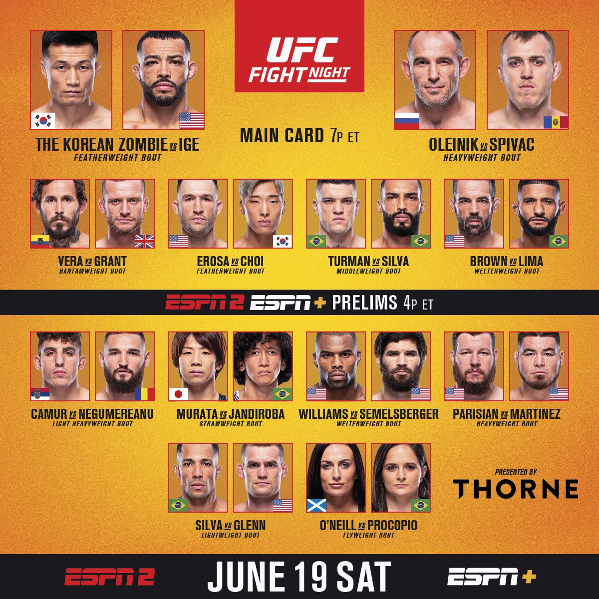 We got a featherweight banger headlining one exciting card 🍿  Prelims kick off at 4pmET on ESPN2 & @ESPNPlus!   [ #UFCVegas29 | B2YB @ThorneHealth ] https://t.co/piVIrVNNAT