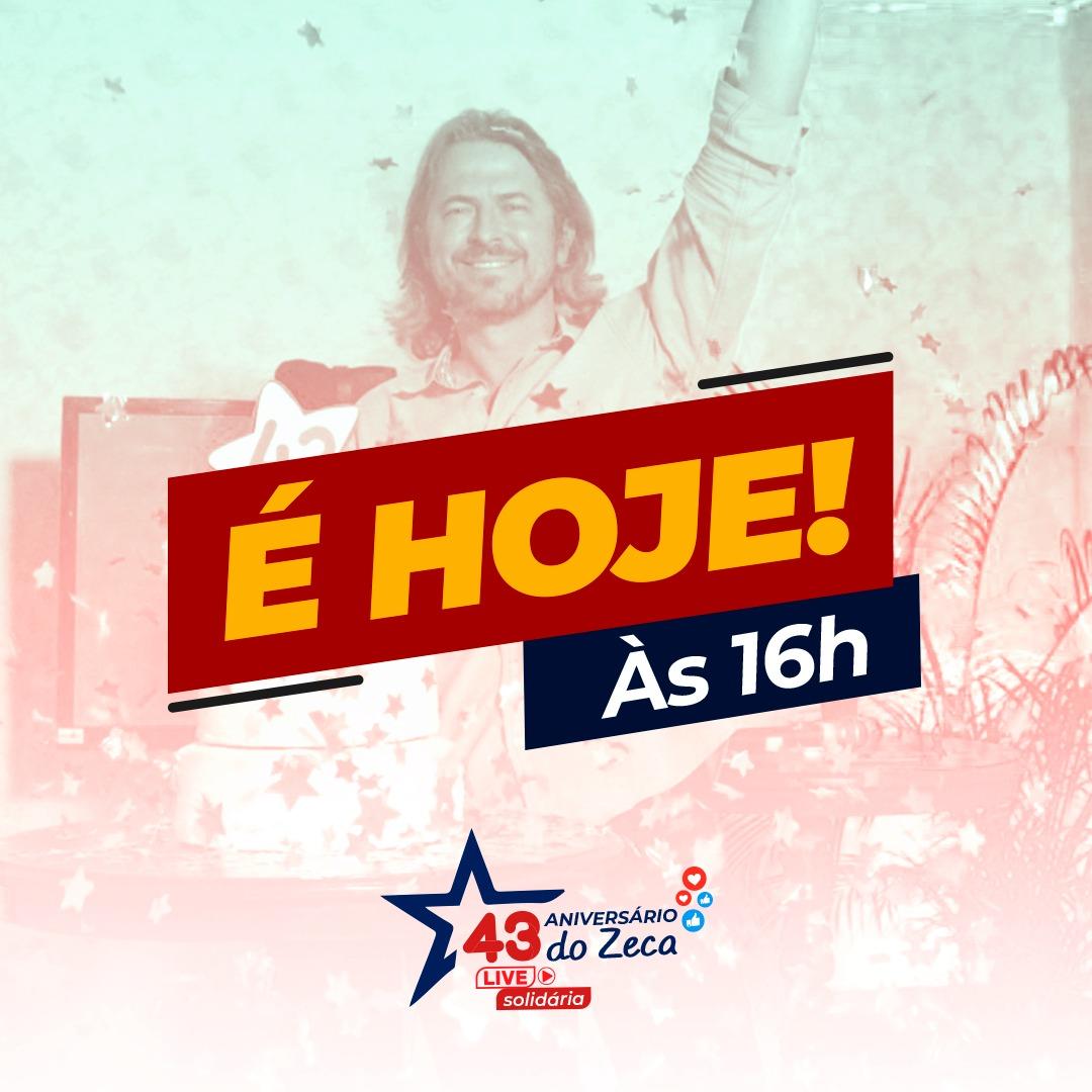 É HOJE! É HOJE! É HOJE  #NiverZD43  Nossa live solidária começa às 16h, com música, solidariedade e luta. Vamos juntos fazer a diferença na vida de centenas de paranaenses!  #zecadirceu #aniversario #gratidao #bday #niver #parana #Zday https://t.co/AcC57fGaRn