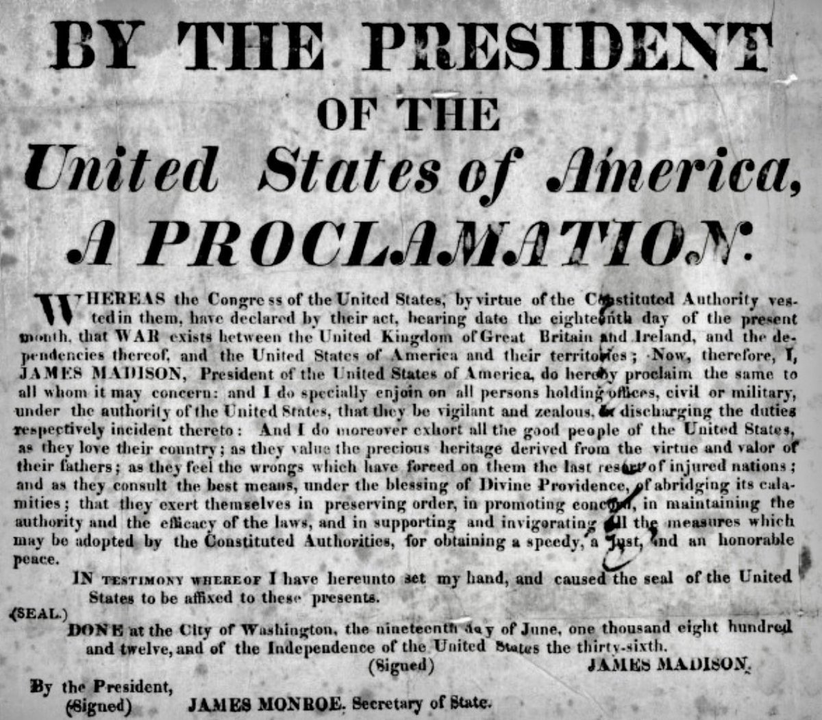 President Madison signed war declaration against Great Britain today 1812: https://t.co/imILHFAKWg