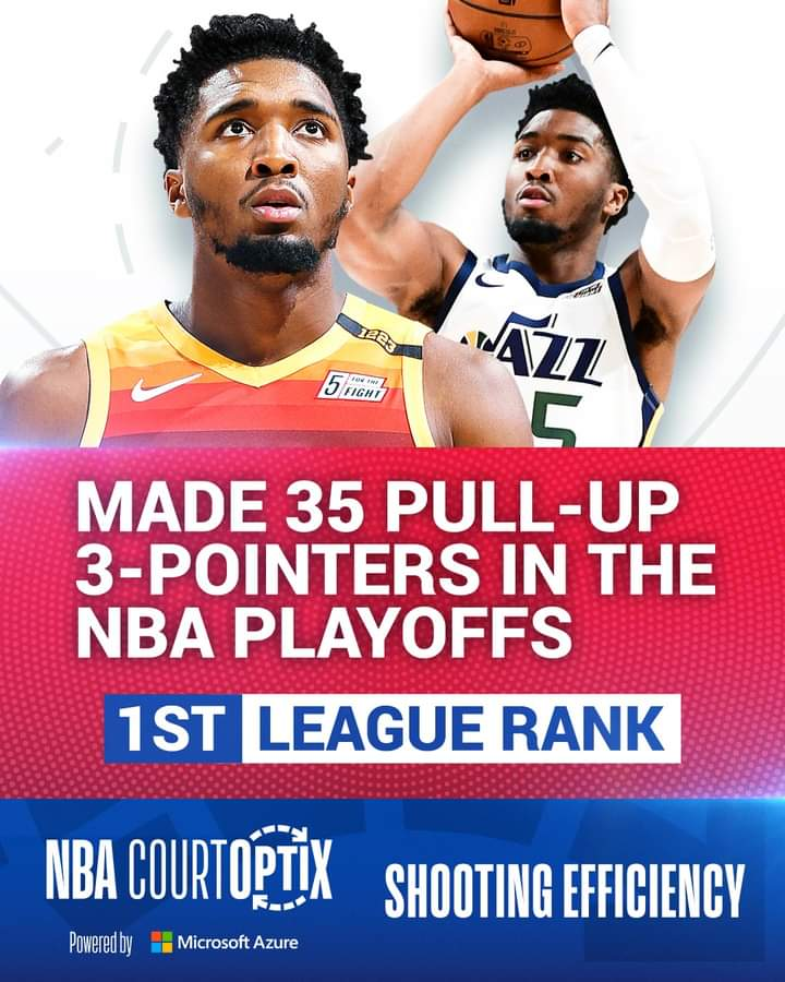 #NBACourtOptix powered by Microsoft Azure highlights Donovan Mitchell's ability to make pull-up threes. He has made 35 total in 9 games played this #NBAPlayoffs, the most of any player. https://t.co/ZL7iyaffje