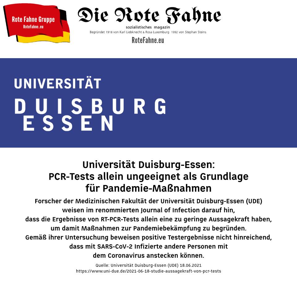 Universität Duisburg-Essen (UDE): PCR-Tests allein ungeeignet als Grundlage für Pandemie-Maßnahmen