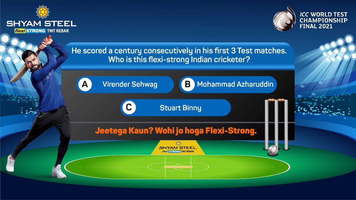 CONTEST ALERT! - QUESTION 6  #ShyamSteelIndia is proud to partner with ICC to bring to you the upcoming ICC World Test Championship Final 2021.   Since the cricket fever is on, we bring to you the #SixesOrDucks contest. https://t.co/F4sa9TkKnm