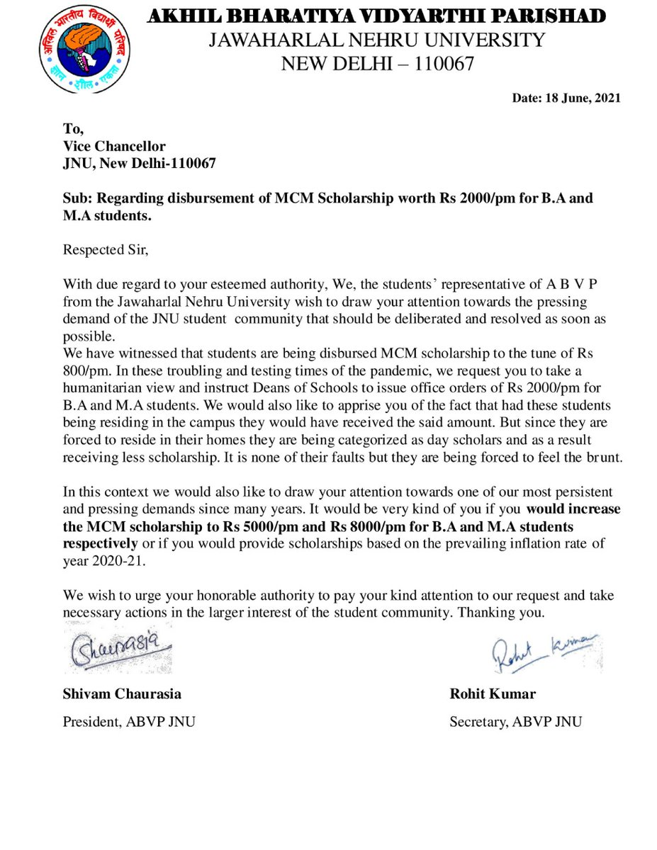 """ABVP JNU unit submitted a memorandum to the Vice Chancellor regarding providing """"MCM scholarship to the tune of Rs 2000/pm to  students.""""  We also requested the Vice Chancellor to increase MCM scholarship to """"₹5000/pm and ₹8000/pm for B.A and M.A students respectively."""" https://t.co/1SYcq5YAi5"""