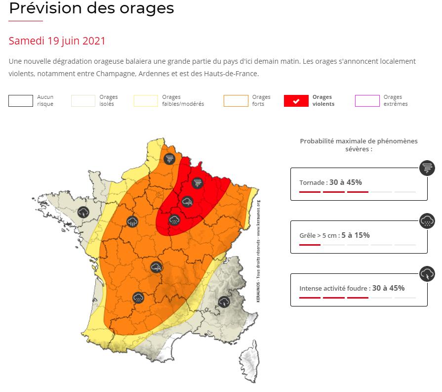 Une nouvelle offensive orageuse virulente va concerner la France ce samedi, avec risque localisé d'#orages violents sur le nord-est, forts partout ailleurs :