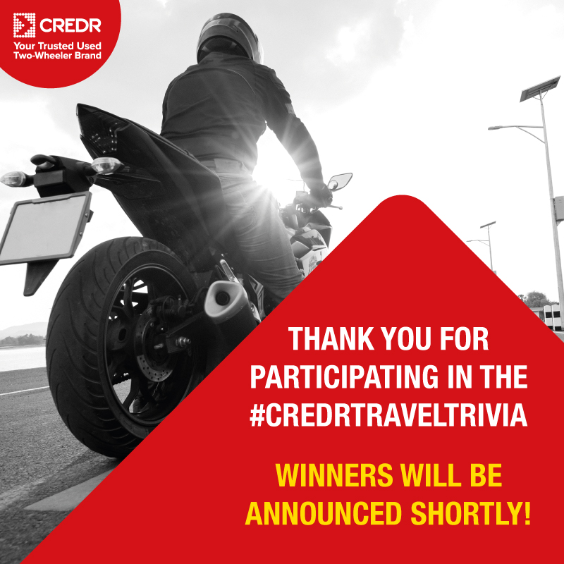 Thank you for participating in #CredRTravelTrivia!  Winners will be announced shortly!  #CredR #ContestAlert #ContestIndia #ContestTime #TravelContest https://t.co/m8Gzbat6Lc