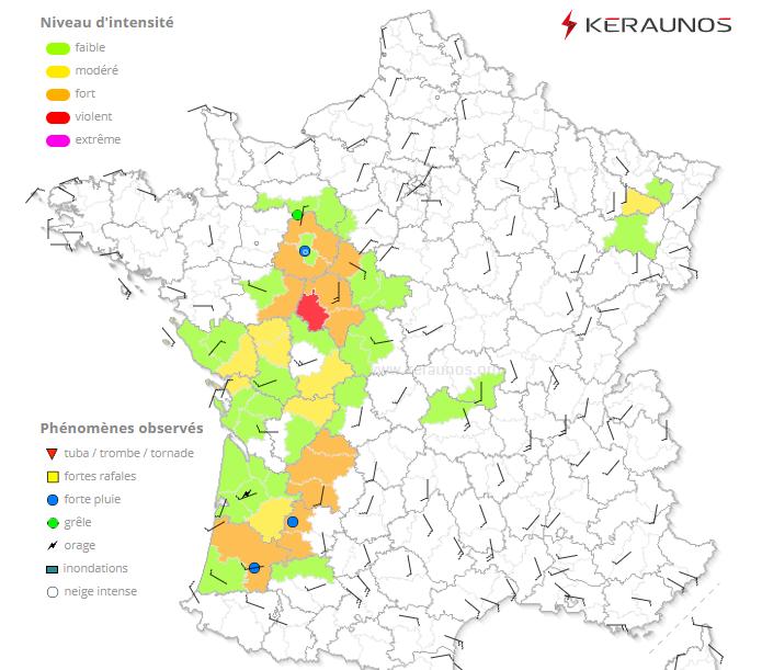 #Orages - Une dépression de surface se creuse sur le nord-ouest du pays, entre Touraine et Sarthe. Elle va se décaler vers le nord-est ensuite. Avec des SCP parfois > 2, le risque supercellulaire est marqué. Une puissante microrafale s'est produite sur le nord du 37.