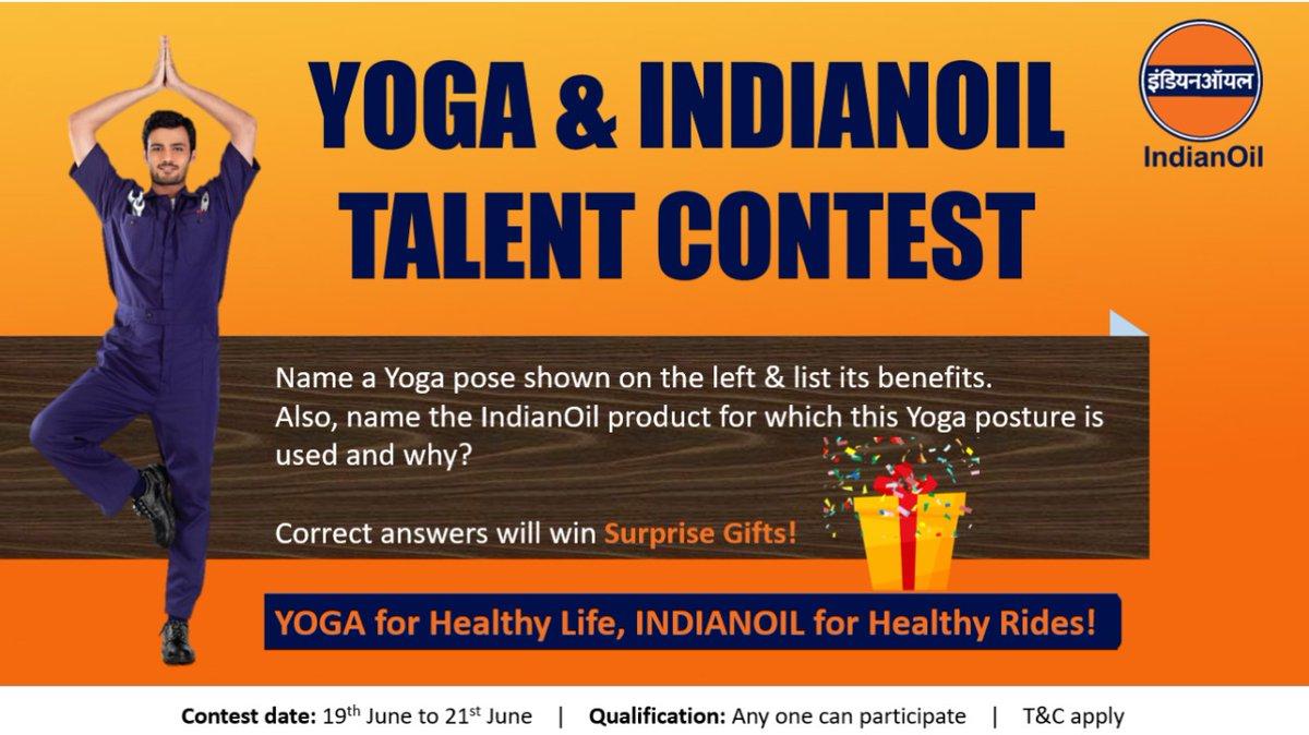 #InternationalYogaDay2021 Talent Contest  1️⃣Follow @IOC_Maharashtra @IOCGujarat @iocl_goa @ioclmp @IOC_CG @CryoIoc   2️⃣Tag & invite 2 friends to contest  3️⃣Submit your entries replying to this tweet  4️⃣Win prizes  #YogaDay #YogaDay2021 #ContestIndia #ContestAlert #YogaForWellness https://t.co/eAtoHnojre
