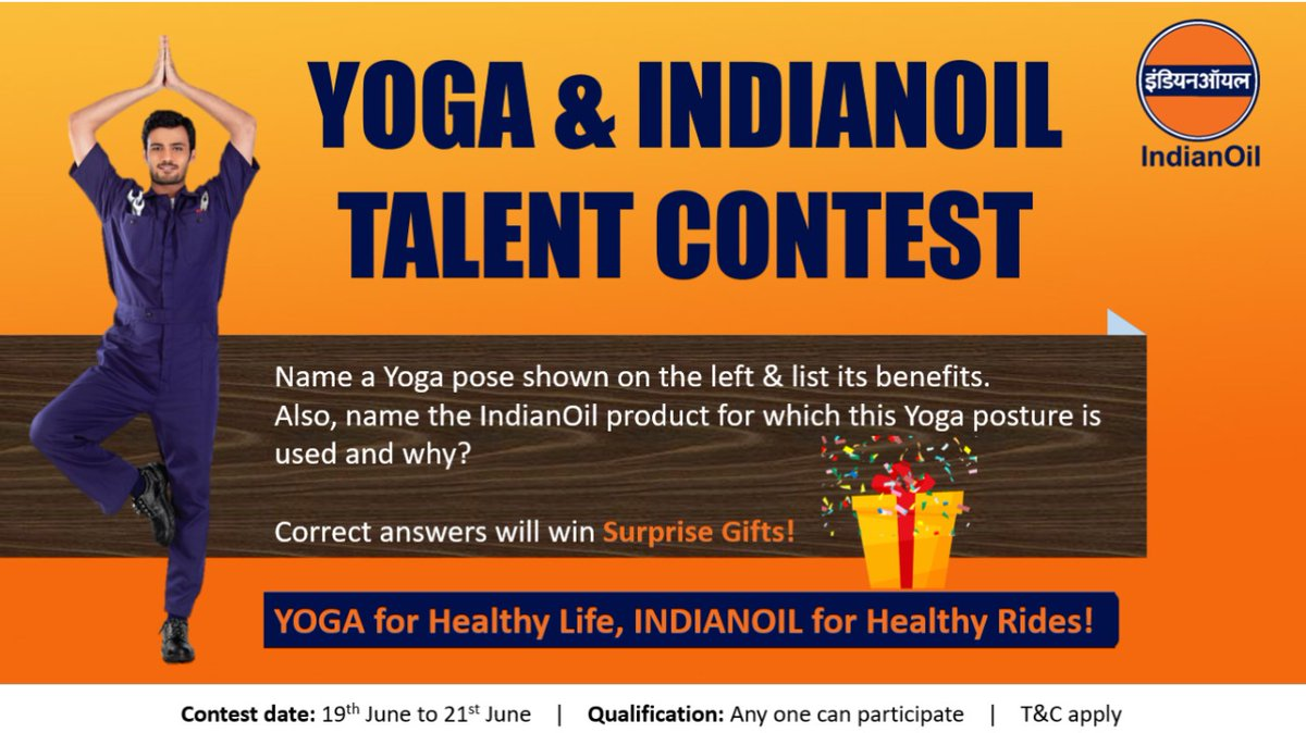 #InternationalYogaDay2021 Talent Contest  1️⃣Follow @IOC_Maharashtra @IOCGujarat @iocl_goa @ioclmp @IOC_CG @CryoIoc   2️⃣Tag & invite 2 friends to contest  3️⃣Submit your entries replying to this tweet  4️⃣Win prizes  #YogaDay #YogaDay2021 #ContestIndia #ContestAlert #YogaForWellness https://t.co/zxyDhIcpRm