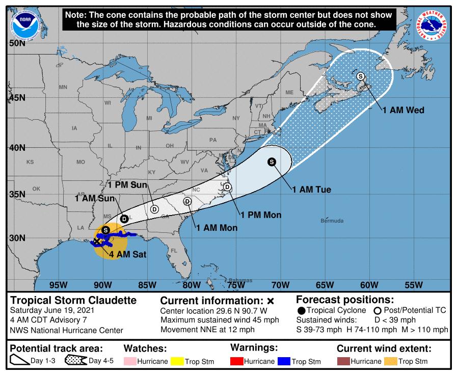 La tempête tropicale #Claudette, 3ème système nommé s'est formée juste au large de la côte sud des USA ce matin.