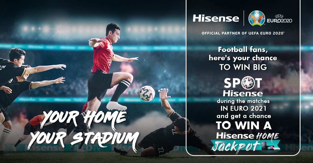 Watch out for Hisense in the match and stand a chance to win exciting EURO goodies. One lucky winner also stands a chance to win the Hisense Home jackpot.  Spot Hisense now! Must Use #Hisense #SpotHisense #EURO2020   #YourHomeYourStadium #SpotHisense #EURO2020 https://t.co/D23zwSRIxT