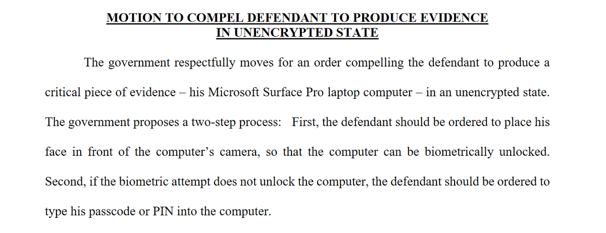 Interesting mini-battle brewing in the case of Texas 3 Percenter Guy Reffitt.  Reffitt recorded some of Jan. 6 on a helmet Go Pro camera. The FBI believes he transferred videos to a tablet. Now they want an order compelling him to unlock the tablet before it password freezes. https://t.co/Rlr7GUBXbo