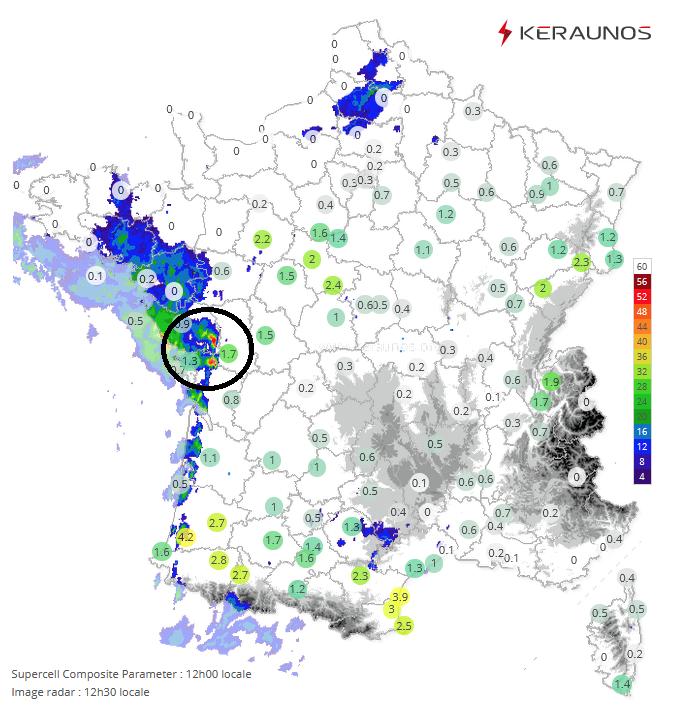 Les #orages débutent par la #Vendée avec 2 cellules actives. Ils vont se multiplier dans un contexte propice aux supercellules : à 12h, l'indice de potentiel supercellulaire était en hausse et souvent supérieur à 1 de l'#Aquitaine au nord-est. Suivi :