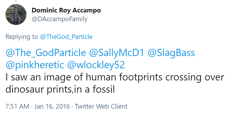 """One of the endearing things about creationists is that they don't check their beliefs for internal consistency.  """"All the sedimentary layers were laid down during a massive worldwide flood. Also, we've found human and dinosaur footprints together in those sedimentary layers."""" https://t.co/RBNGXHBlHf"""