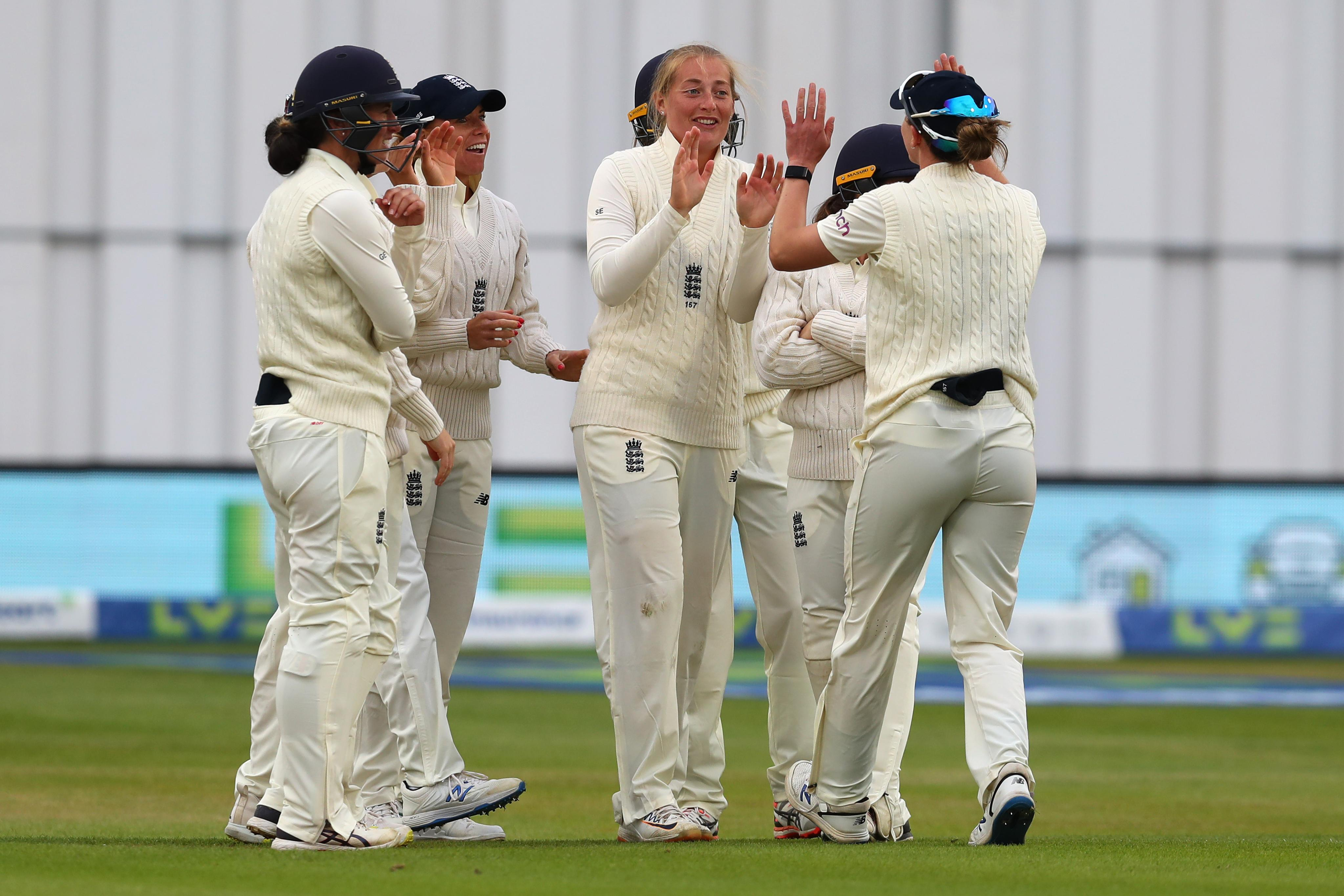 Sophie Ecclestone gets the crucial wicket of Deepti Sharma who is out for 54. PC: ICC