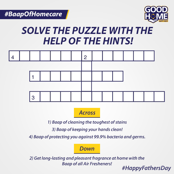 """#ContestAlert Do you recognise the """"Baap"""" of home care products? Solve the puzzle by identifying the various Good Home products & you can win goodies!  #FathersDay2021 #Father #Dad #GoodHome #HomeCare #Hygiene #Cleanliness https://t.co/DUB54b4qlS"""