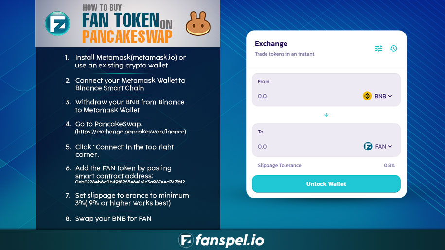 Hello,  Buy $FAN token on @PancakeSwap  Swap here : https://t.co/ftK8NwW2jh  Token Info : https://t.co/7NsRny8Lkb  Token Website - https://t.co/QO3C5UhYLi  Fantasy Sports App and Wallet-https://t.co/LsrHQH6PGh  #Crypto #PancakeSwap #bitcoin #Fanspel #bscscan #BNB #ETH #Airdrops https://t.co/Nmza4OYUYu
