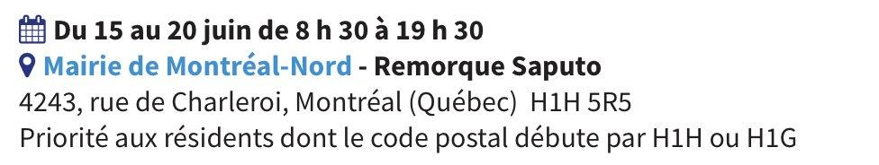 [QC] Mairie de Montréal-Nord  Clinique sans rendez-vous Pfizer 19 au 20 juin, 8h30-19h30 (12 ans et +)  Walk-in clinic Pfizer June 19-20th, 8:30AM-7:30PM (12+)  Priorité code postaux / Postal codes: H1H, H1G  https://t.co/d27PvGrnZW #COVID19QC #vhcQC https://t.co/QEfntb0mNd
