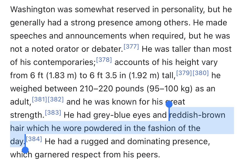 TIL George Washington was a red head that didn't wear a wig, but powdered his hair white. https://t.co/Adf5fN5xnu