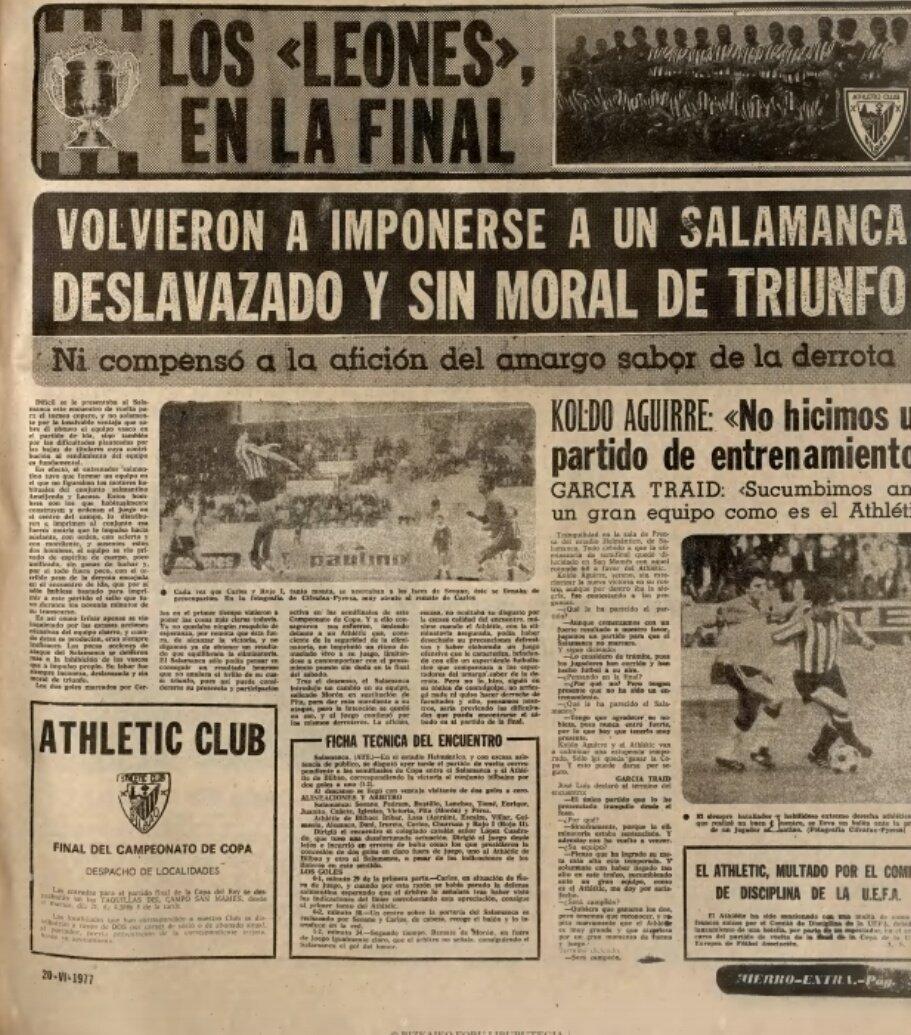 Con dos goles de Carlos el Athletic se clasifica para la final de Copa  1977 tras ganar a la U.D....
