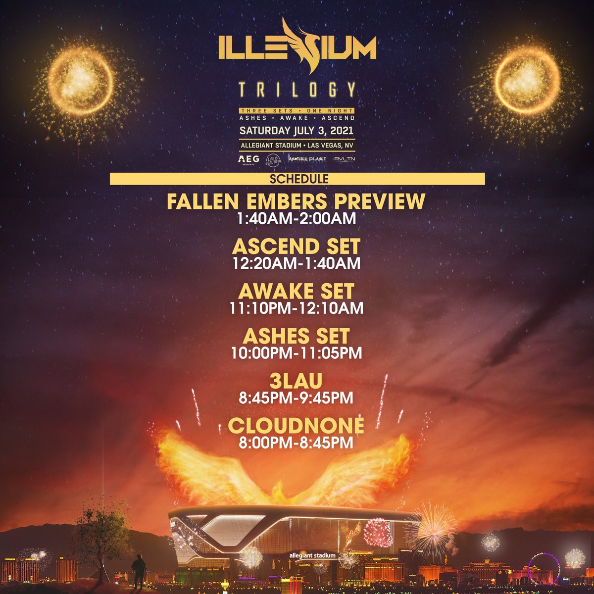"""ILLENIUM on Twitter: """"Releasing set times for TRILOGY so everyone can plan  accordingly! Can't wait to see you all at Allegiant Stadium in Las Vegas  July 3rd 🙂 Tix → https://t.co/tn1zsfqGug… https://t.co/Ibhw6ia6lr"""""""