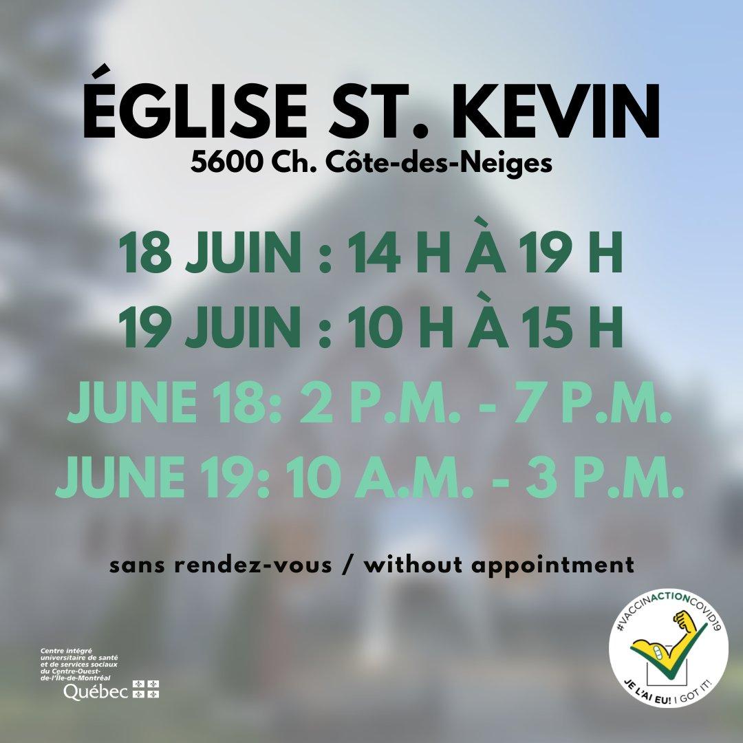 [QC] Montréal - Côte-des-Neiges - Église St. Kevin  Vaccination Moderna sans rendez-vous aujourd'hui 10h à 15h. 1ère (18+) /2e dose (35+)  Walk-in clinic Moderna today 10AM-3PM. 1st (18+) /2nd dose (35+)  https://t.co/DIblTpmgCs #VHCDose2 #COVID19QC #vhcQC https://t.co/KmF3ZFcP0y